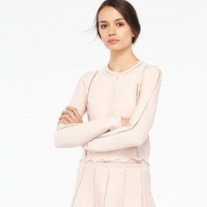 Sandro Paris Diane Medium Pink Scalloped Hem Fitted Cardigan Sweater